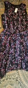 NEW Black Floral Chiffon Lane Bryant dress